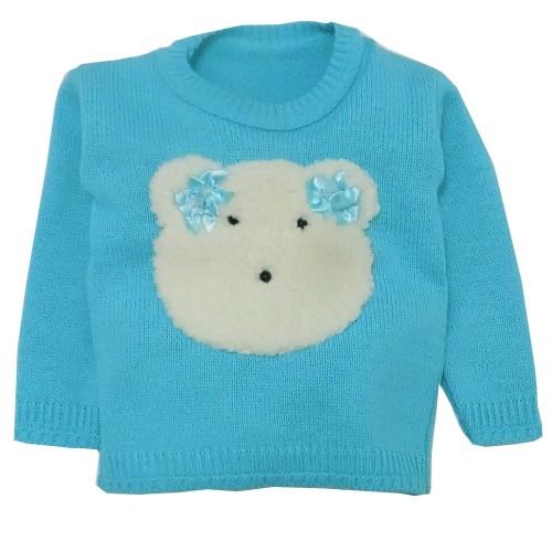 Blusa Tricot Verde Água Urso